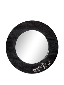 Black Wooden Wall Mirror Warli - The Elephant Company