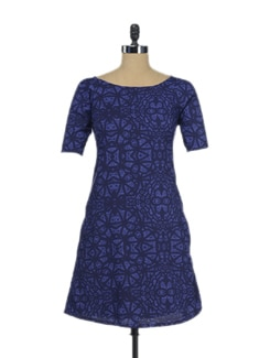 Stylish Blue Shift Dress - Thegudlook