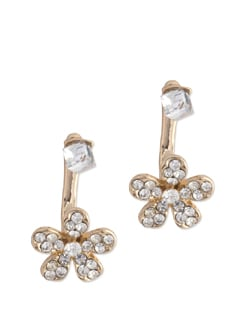 Pretty Crystal Studded Floral Earrings - YOUSHINE