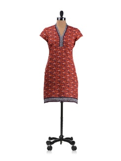 Orange Printed Kurta - Aurelia