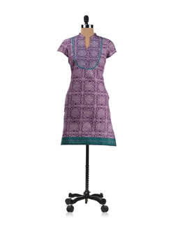Purple Printed Kurta With Green Detailing - Aurelia