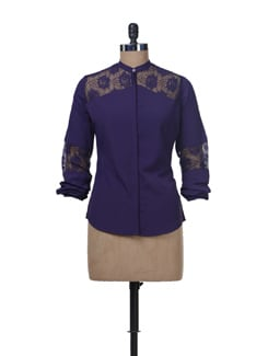 Purple Lace Insert Top - Femella