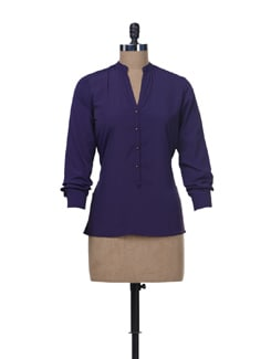 Band Collar Shirt- Purple - Femella