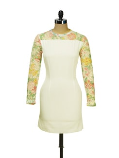 White Dress With Floral Lace Sleeves - I KNOW By Timsy & Siddhartha