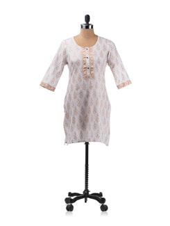 White And Gold Khadi Print Kurta - Aurelia