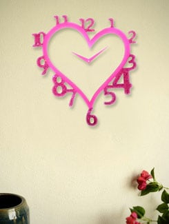 Crystal Studded Pink Heart Clock - Zeeshaan