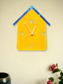 Blue And Yellow Hut Wall Clock - Zeeshaan