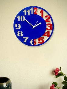 Blue And Red Engraved  Wall Clock - Zeeshaan