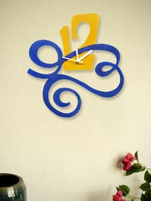 Yellow And Blue Designer Nos  Wall Clock - Zeeshaan