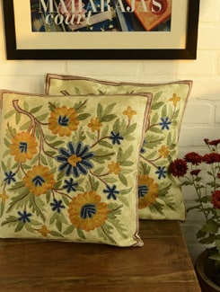 Multicolored Floral Cushion Covers - Set Of 2 - Kashmir Designer Atrs