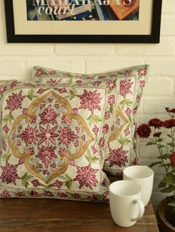 Pink Floral Cushion Covers - Set Of 2 - Kashmir Designer Atrs