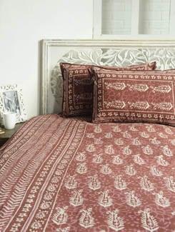 Block Printed Maroon Paisley Print Bed Sheet Set - Sakrip