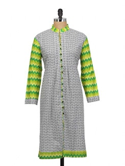 Colour Blocked Kurta In Abstract Print - ARYA