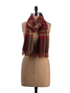 Red Checked Christmas Stole - TIARA