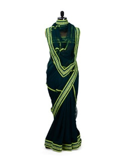 Ombre Green Saree With Lace Border - HERMOSEAR