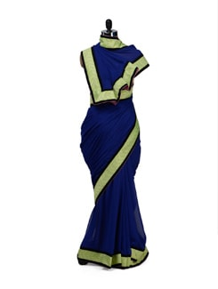 Elegant Blue & Lime Green Saree - HERMOSEAR