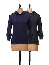Basic Sweatshirts In Combo Of Black And Royal Blue - Campus Sutra