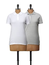 Set Of Grey And White Polo T-Shirts - Campus Sutra