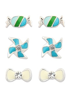 Assorted Set Of Three Adorable Studs - Jewellery By Just Women