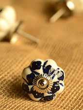 Ceramic Floral Pattern Knobs- Set Of 6 - Casa Decor