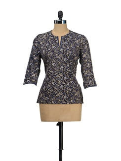 Floral Black Short Kurti - Fami India