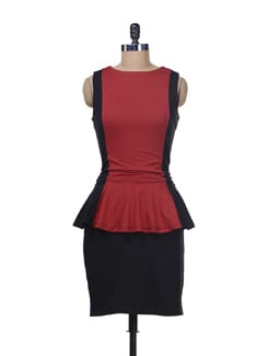 Red And Black Peplum Dress - Color Cocktail