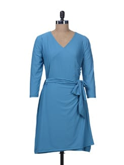Blue Front Wrap Dress - Color Cocktail