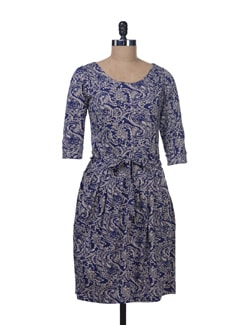 Ink Blue Paisley Print Dress - Color Cocktail