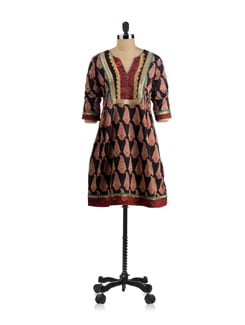 Black Block Printed Tunic With Gota Trims - EKAA