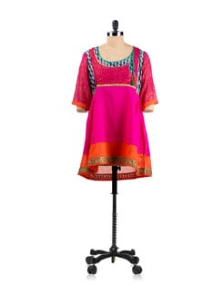 Pink Angrakha Style Tunic With Block Print Patches. - EKAA