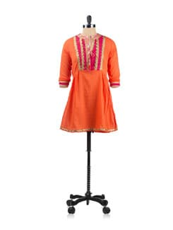 Orange Tunic With A Printed Panel - EKAA