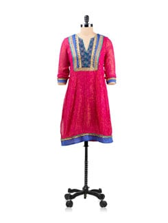 Pink Lurex And Cotton Tunic With Tasselled Dori Tie Ups - EKAA