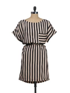 Striped Beige Dress - Tops And Tunics