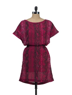 Hot Pink Snake Print Dress - Tops And Tunics