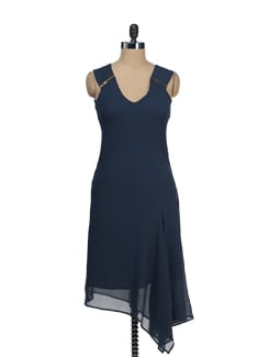 Navy Blue Asymmetrical Dress - Tops And Tunics