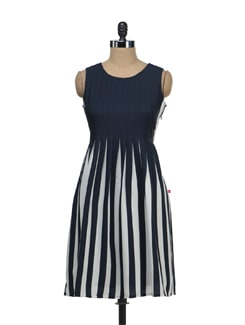 Pleated Dress In Monochrome Stripes - Tops And Tunics