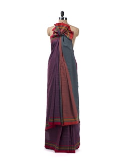 Purple Striped Saree With Colourful Border - Desiweaves