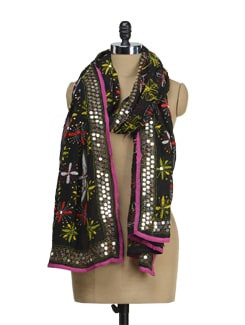 Black Embroidered Dupatta - Vayana