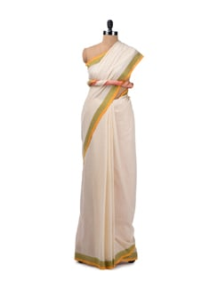 Off White Cotton Handloom Saree - Desiweaves