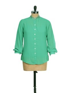 Stylish Emerald Green Top - AND