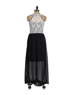 Black & White Long Dress - AND