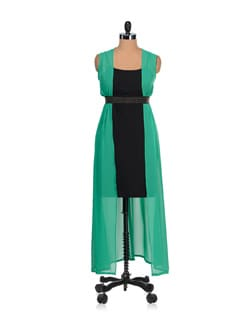 Chic Black & Green Party Dress - AND