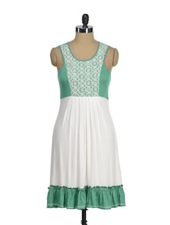 Trendy White & Green Dress - AND