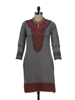 Grey Statement Kurta - Global Desi