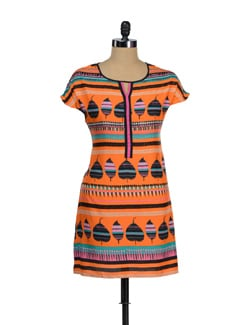 Trendy Orange Printed Tunic - Global Desi