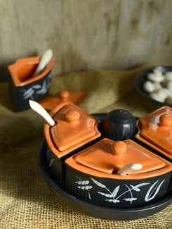 Pickle Set With 4 Jars And  A Salt Dispenser - Black & Orange - Cultural Concepts