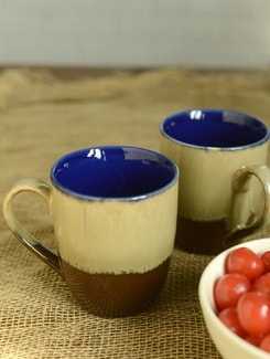 Studio Basic Coffee Mugs - Beige & Brown - Set Of 2 - Cultural Concepts