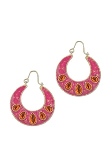 Fuchsia Half Moon Earrings