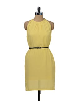 Lemon Yellow Halter Dress - TREND SHOP