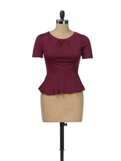 Deep Wine Peplum Top - TREND SHOP